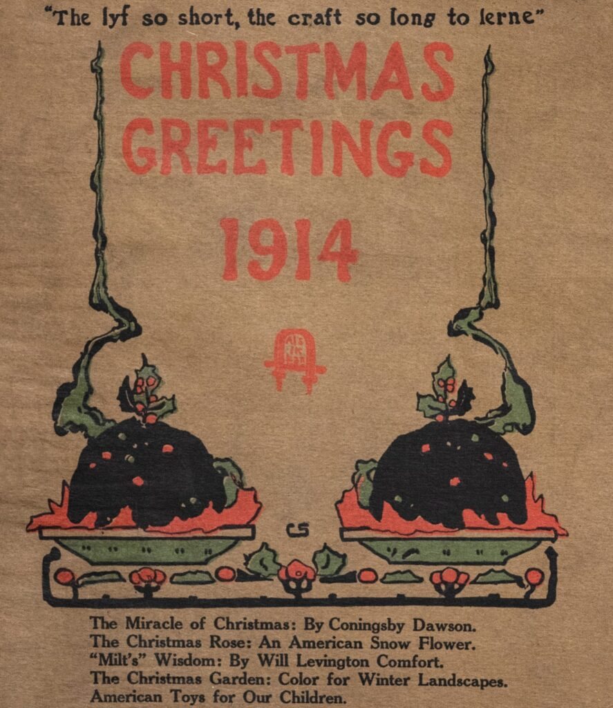 The December 1914 cover of The Craftsman magazine depicting two plum puddings garnished with sprigs of holly.