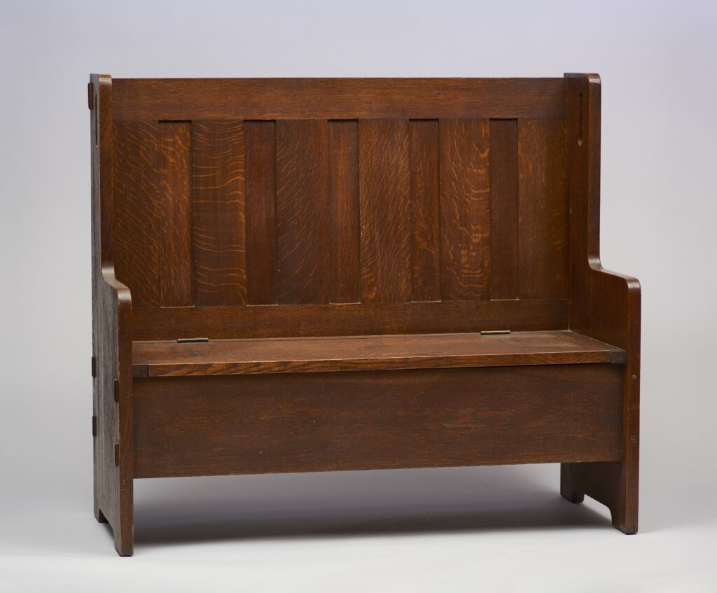 Bench (no. 224); Creator: Craftsman Workshops, ca. 1912-13; Medium: Oak with brass hinges; Dimensions: 42 1/2 x 48 x 20 inche