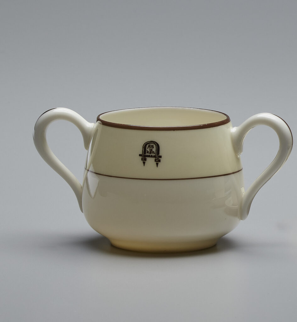 Sugar Bowl, Lenox, Incorporated, ca. 1913-15, Soft-paste porcelain, 2 1/2 x 5 1/4 inches. Gift of Jane Lipson Flueckiger, in Memory of Antoinette Lipson-Blok.